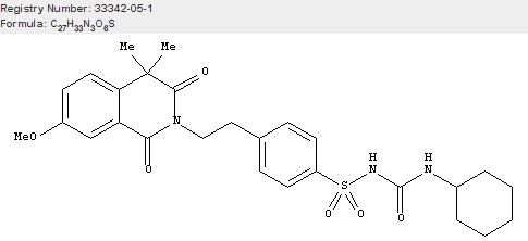 Benzenesulfonamide, N-[(cyclohexylamino)carbonyl]-4-[2-(3,4-dihydro-7-methoxy-4,4-dimethyl-1,3-dioxo-2(1H)-isoquinolinyl)ethyl]-