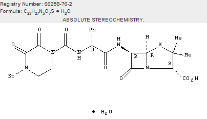 4-Thia-1-azabicyclo[3.2.0]heptane-2-carboxylic acid, 6-[[(2R)-[[(4-ethyl-2,3-dioxo-1-piperazinyl)carbonyl]amino]phenylacetyl]amino]-3,3-dimethyl-7-oxo-, monohydrate, (2S,5R,6R)-