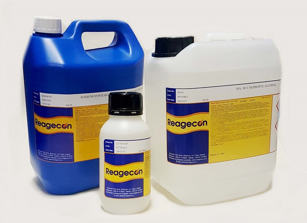 Reagecon Sodium Hypochlorite 3% w/v available Chlorine Cleaning Solution