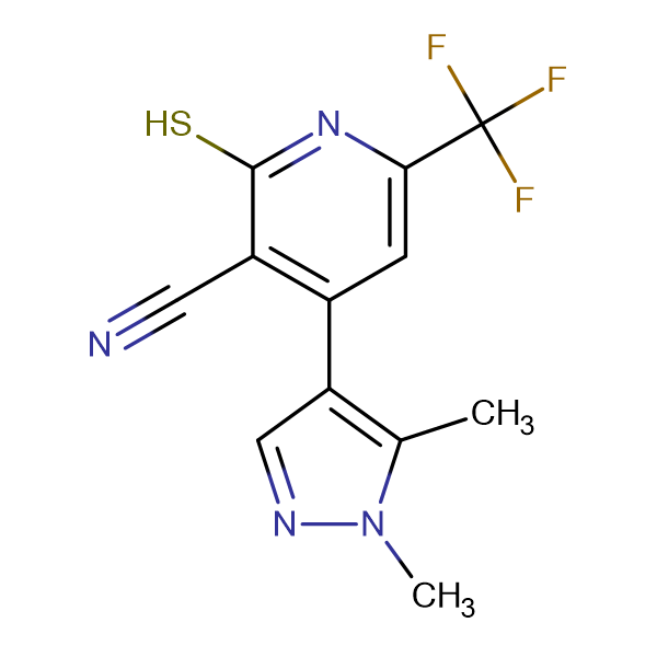 4-(1,5-Dimethyl-1H-pyrazol-4-yl)-2-mercapto-6-trifluoromethyl-nicotinonitrile