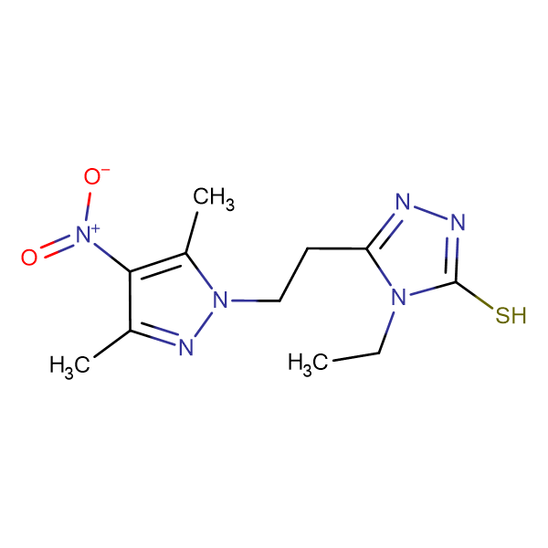 5-[2-(3,5-Dimethyl-4-nitro-pyrazol-1-yl)-ethyl]-4-ethyl-4H-[1,2,4]triazole-3-thiol