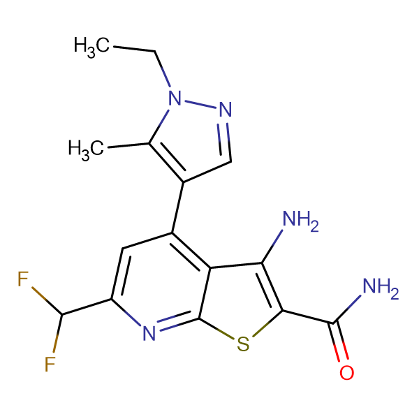 3-Amino-6-difluoromethyl-4-(1-ethyl-5-methyl-1 H -pyrazol-4-yl)-thieno[2,3- b ]pyridine-2-carboxylic acid amide