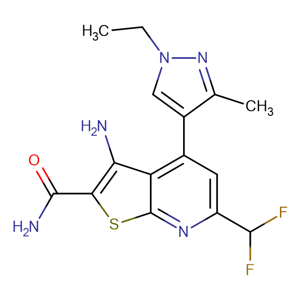 3-Amino-6-difluoromethyl-4-(1-ethyl-3-methyl-1 H -pyrazol-4-yl)-thieno[2,3- b ]pyridine-2-carboxylic acid amide