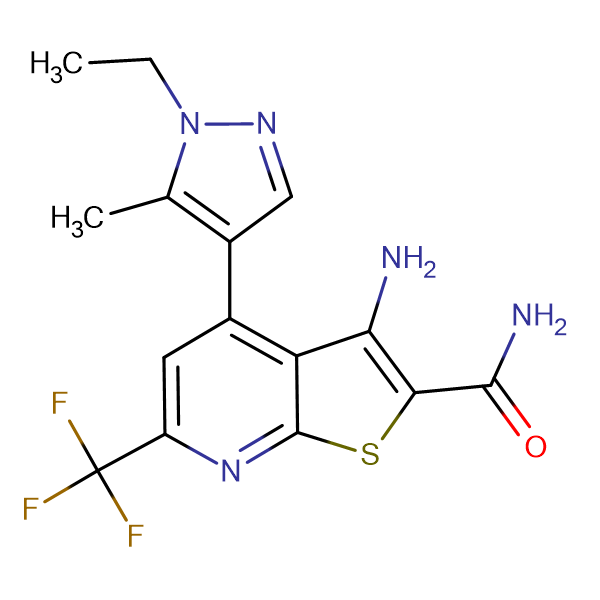 3-Amino-4-(1-ethyl-5-methyl-1 H -pyrazol-4-yl)-6-trifluoromethyl-thieno[2,3- b ]pyridine-2-carboxylic acid amide