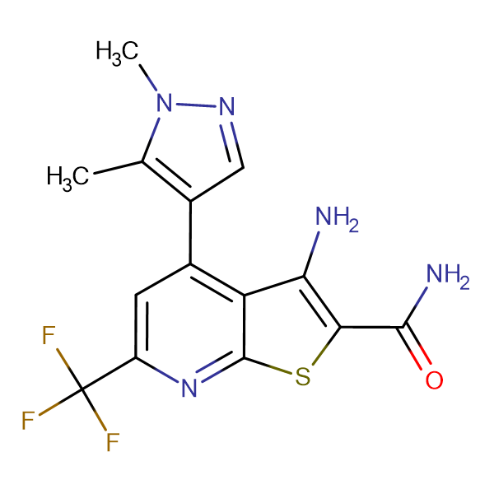 3-Amino-4-(1,5-dimethyl-1 H -pyrazol-4-yl)-6-trifluoromethyl-thieno[2,3- b ]pyridine-2-carboxylic acid amide