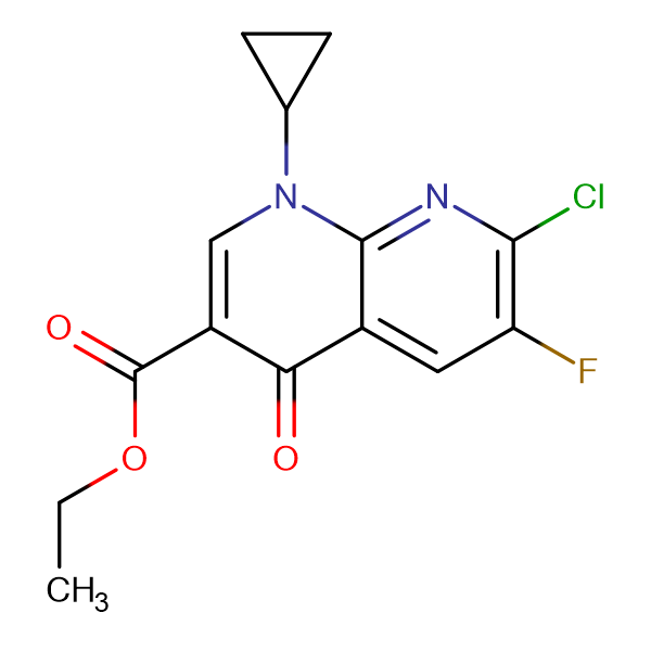 Ethyl 1-cyclopropyl-7-chloro-6-fluoro-1,4-dihydro-4-oxo-1,8-naphthylridine carboxylate