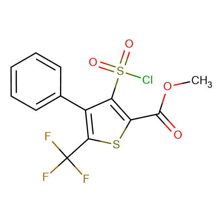 3-Chlorosulfonyl-4-phenyl-5-trifluoromethyl-thiophene-2-carboxylic acid methyl ester