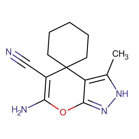 6'-amino-3'-methyl-2'H-spiro[cyclohexane-1,4'-pyrano[2,3-c]pyrazole]-5'-carbonitrile