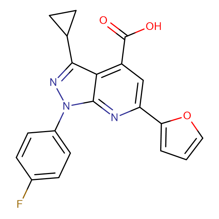 3-cyclopropyl-1-(4-fluorophenyl)-6-(2-furyl)-1H-pyrazolo[3,4-b]pyridine-4-carboxylic acid