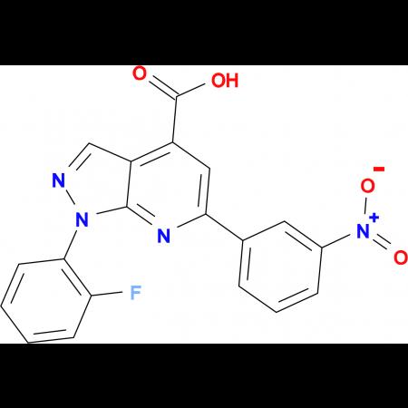 1-(2-fluorophenyl)-6-(3-nitrophenyl)-1H-pyrazolo[3,4-b]pyridine-4-carboxylic acid