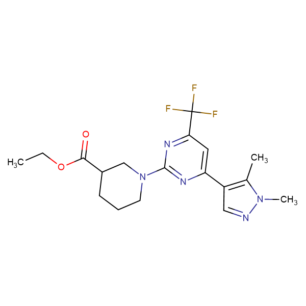 ethyl 1-[4-(1,5-dimethyl-1H-pyrazol-4-yl)-6-(trifluoromethyl)pyrimidin-2-yl]piperidine-3-carboxylate