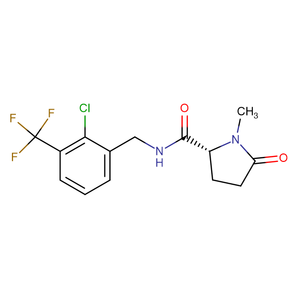 (2R)-N-{[2-CHLORO-3-(TRIFLUOROMETHYL)PHENYL]METHYL-1-METHYL-5-OXOPYRROLIDINE-2-CARBOXAMIDE