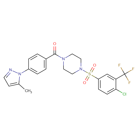 (4-((4-Chloro-3-(trifluoromethyl)phenyl)sulfonyl)piperazin-1-yl)(4-(5-methyl-1H-pyrazol-1-yl)phenyl)methanone