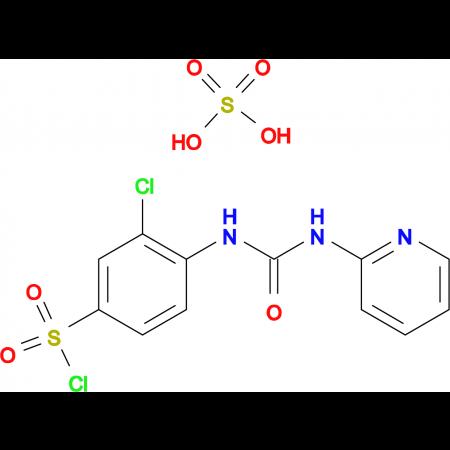 3-Chloro-4-(3-pyridin-2-yl-ureido)benzenesulfonylchloride hydrogen sulfate