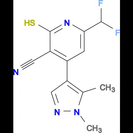 6-Difluoromethyl-4-(1,5-dimethyl-1H-pyrazol-4-yl)-2-mercapto-nicotinonitrile