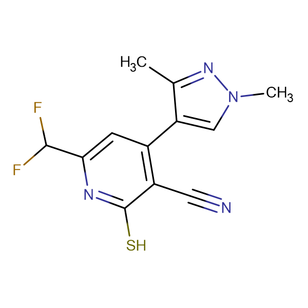 6-Difluoromethyl-4-(1,3-dimethyl-1H-pyrazol-4-yl)-2-mercapto-nicotinonitrile