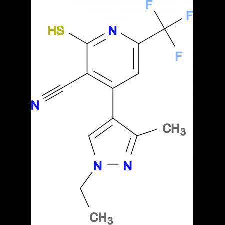 4-(1-Ethyl-3-methyl-1H-pyrazol-4-yl)-2-mercapto-6-trifluoromethyl-nicotinonitrile
