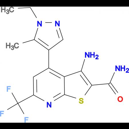 3-Amino-4-(1-ethyl-5-methyl-1 H -pyrazol-4-yl)-6-trifluoromethyl-thieno[2,3- b ]pyridine-2-carboxylic acid amide