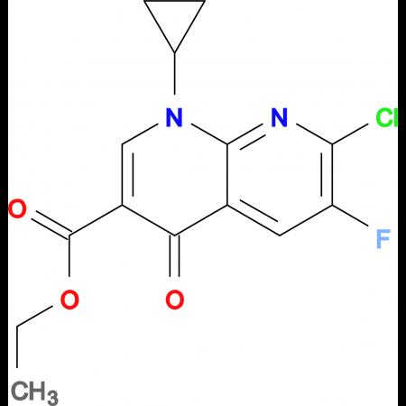 Ethyl 1-cyclopropyl-7-chloro-6-fluoro-1,4-dihydro-4-oxo-1,8-naphthylridine carboxylate
