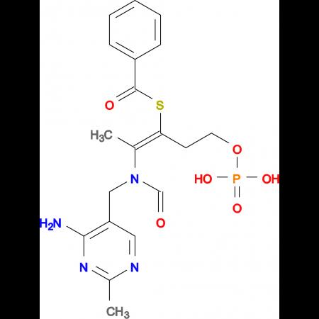 S-(2-(N-((4-Amino-2-methylpyrimidin-5-yl)methyl)formamido)-5-(phosphonooxy)pent-2-en-3-yl)benzothioa