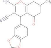 2-amino-4-benzo[d]1,3-dioxolen-5-yl-7-methyl-5-oxo-4,6,7,8-tetrahydro2H-chromene-3-carbonitrile, 98%