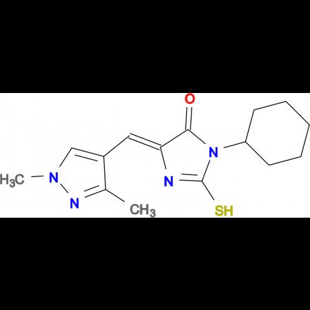(5E)-3-cyclohexyl-5-[(1,3-dimethyl-1H-pyrazol-4-yl)methylene]-2-mercapto-3,5-dihydro-4H-imidazol-4-one
