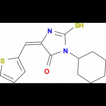 (5E)-3-cyclohexyl-2-mercapto-5-(thien-2-ylmethylene)-3,5-dihydro-4H-imidazol-4-one