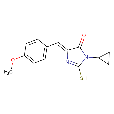 (5E)-3-cyclopropyl-2-mercapto-5-(4-methoxybenzylidene)-3,5-dihydro-4H-imidazol-4-one