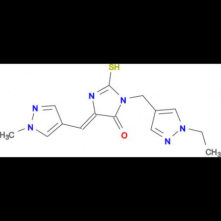 (5Z)-3-[(1-ethyl-1H-pyrazol-4-yl)methyl]-2-mercapto-5-[(1-methyl-1H-pyrazol-4-yl)methylene]-3,5-dihydro-4H-imidazol-4-one
