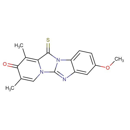 8-METHOXY-1,3-DIMETHYL-12-THIOXO-PYRIDO[123,4]IMIDAZO[1,2-A]BENZIMIDAZOL-2-(12H)-ONE