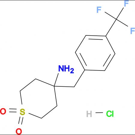 4-Amino-4-{[4-(trifluoromethyl)phenyl]methyl}-1lambda(6)-thiane-1,1-dione hydrochloride