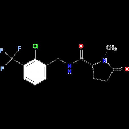 (2R)-N-{[2-CHLORO-3-(TRIFLUOROMETHYL)PHENYL]METHYL-1-METHYL-5-OXOPYRROLIDINE-2-CARBOXAMIDE