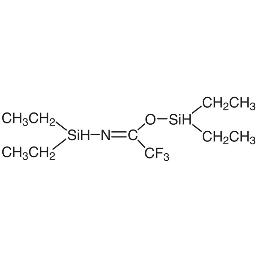 N,O-Bis(diethylhydrogensilyl)trifluoroacetamide [Simultaneous cyclic silylene and silyl derivatizing reagent for GC]