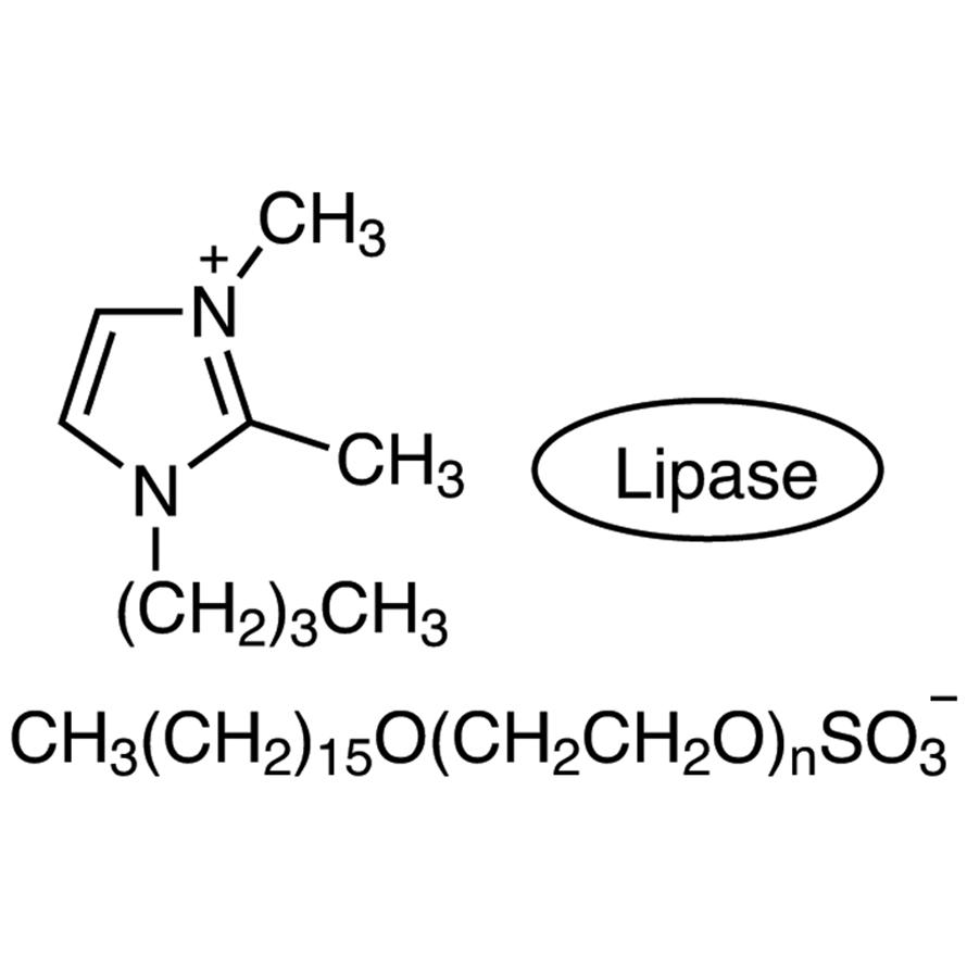 1-Butyl-2,3-dimethylimidazolium Polyethylene Glycol Hexadecyl Ether Sulfate coated Lipase