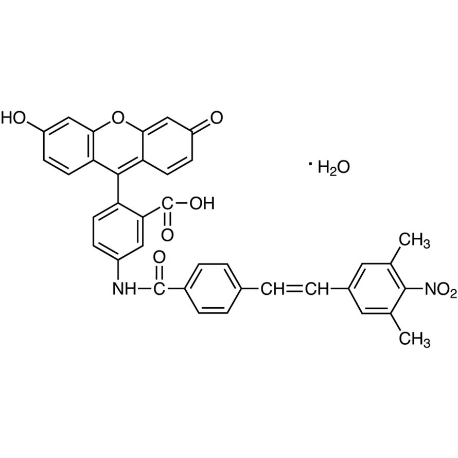 5-[4-(3,5-Dimethyl-4-nitrostyryl)benzamido]-2-(6-hydroxy-3-oxo-3H-xanthene-9-yl)benzoic Acid Monohydrate