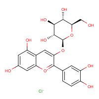 2-(3,4-Dihydroxyphenyl)-3-(beta-D-glucopyranosyloxy)-5,7-dihydroxy-1-benzopyrylium chloride