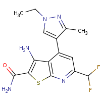 3-Amino-6-(difluoromethyl)-4-(1-ethyl-3-methyl-1H-pyrazol-4-yl)thieno[2,3-b]pyridine-2-carboxamide