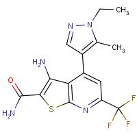 3-Amino-4-(1-ethyl-5-methyl-1H-pyrazol-4-yl)-6-(trifluoromethyl)thieno[2,3-b]pyridine-2-carboxamide