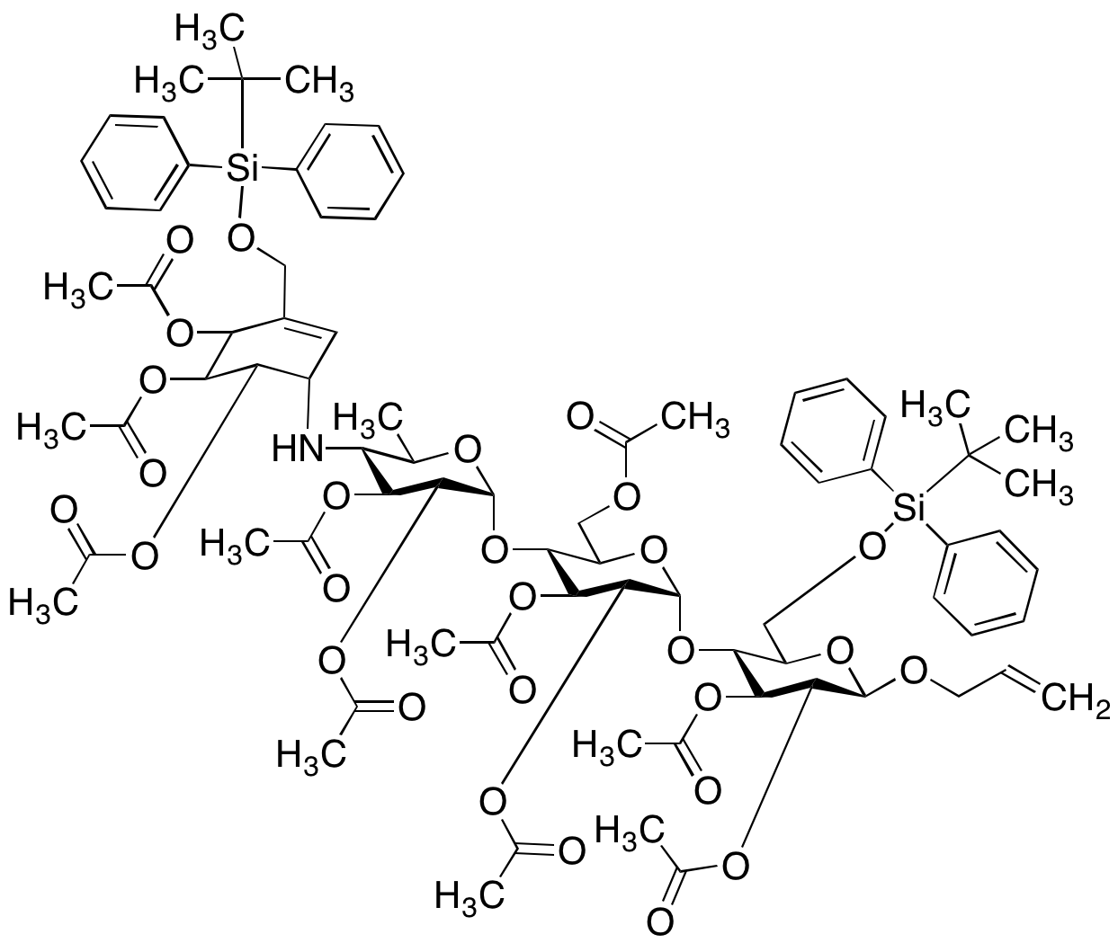 Acarbose O-Allyl Ether Bis-O-t-butyldiphenylsilane Ester Deca-acetate