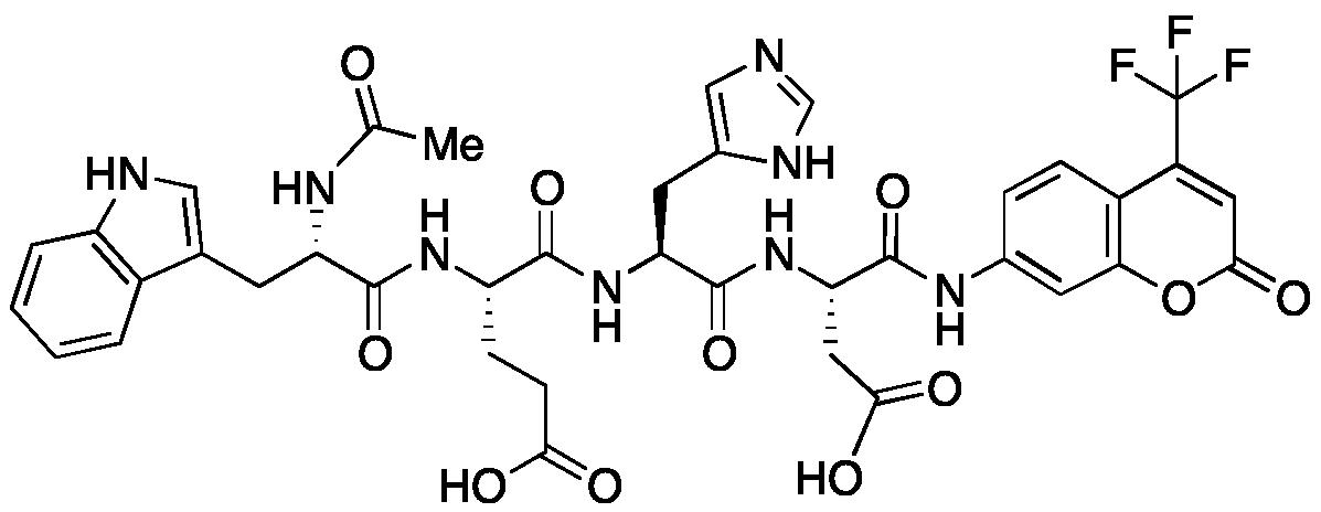 N-Acetyl-L-tryptophyl-L--glutamyl-L-histidyl-N-[2-oxo-4-(trifluoromethyl)-2H-1-benzopyran-7-yl]-L--asparagine