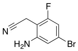 5-Bromo-2-cyanomethyl-3-fluoroanilin2-amino-4-bromo-6-fluoro-benzyl Cyanide