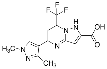 5-(1,3-Dimethyl-1H-pyrazol-4-yl)-7-(trifluoromethyl)-4,5,6,7-tetrahydropyrazolo[1,5-a]pyrimidine-2-carboxylic Acid