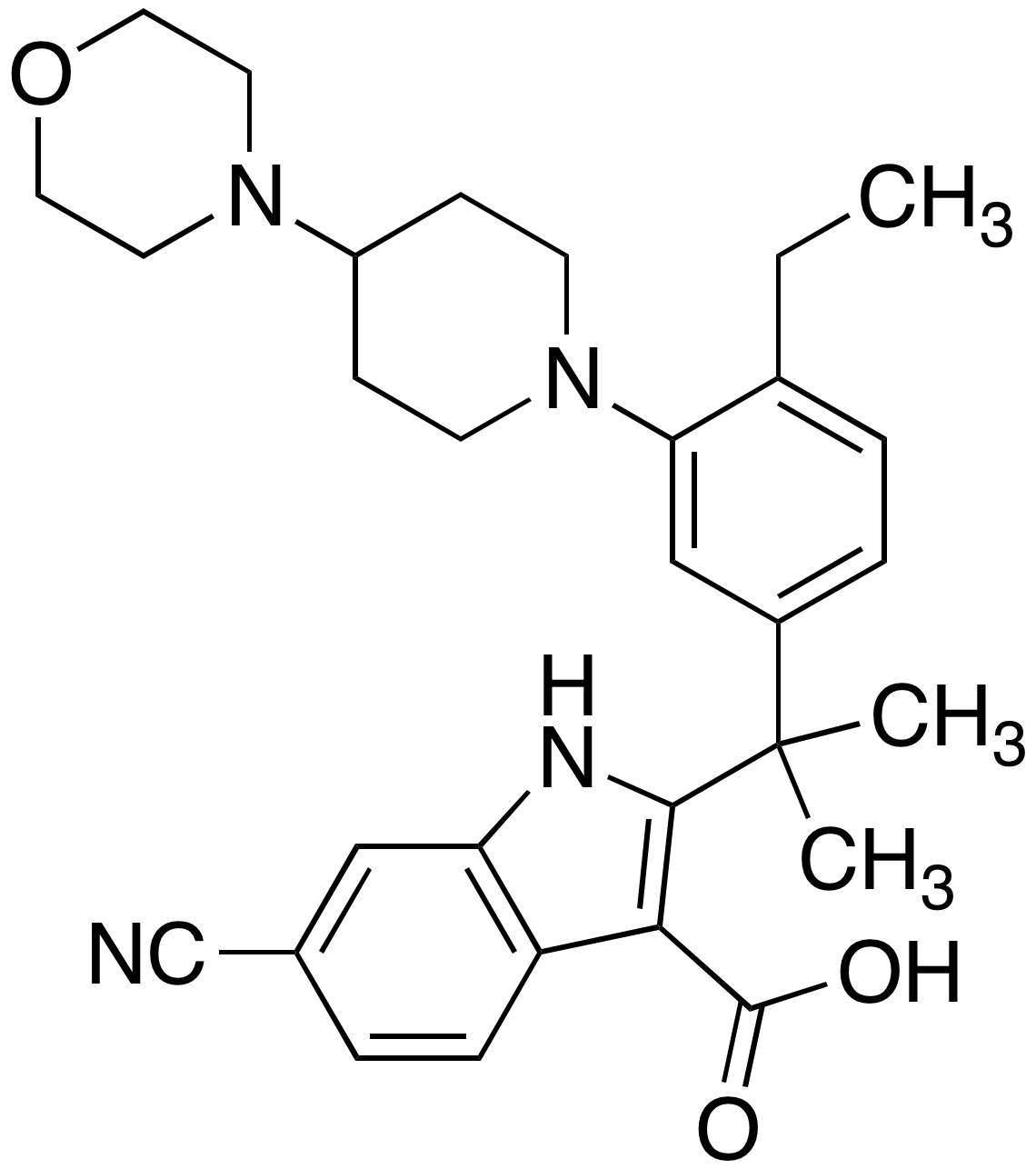 6-Cyano-2-[1-[4-ethyl-3-[4-(4-morpholinyl)-1-piperidinyl]phenyl]-1-methylethyl]-1H-indole-3-carboxylic Acid